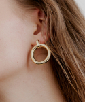 러브미몬스터() Stick & Bold Circle Earrings