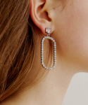러브미몬스터(LOVE ME MONSTER) Pure Square & Oval Cubic Earring