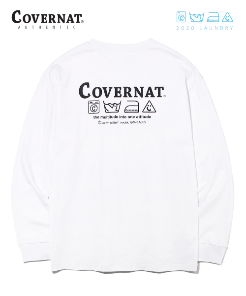커버낫(COVERNAT) COVERNAT x M/G LAUNDRY LAYOUT LOGO LONG SLEEVE WHITE