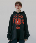 테이즈() Womens Fit College Bear Oversized Hoodie (Black/Red)