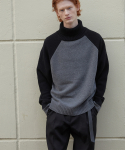 알렌느(HALEINESHOP) DARKGREY/BLACK cashmere 2way raglan highneck knit(HT033)