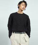 알렌느(HALEINESHOP) BLACK alpaca cable knit (KT012)