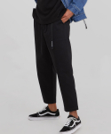 어드바이저리() Banding Baggy Crop Pants - Black