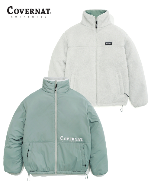 커버낫(COVERNAT) REVERSIBLE FLEECE ZIP-UP JACKET MINT