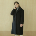 Lambs wool long coat - Black
