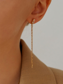 리엔느와르(leeENoir) Mini Stick Cubic Drop Earring (2color)