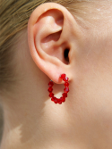 리엔느와르(leeENoir) Red Crystal Ring Earring