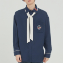 로맨틱크라운(ROMANTIC CROWN) PIPING TIE SHIRT_NAVY