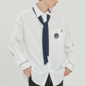 로맨틱크라운(ROMANTIC CROWN) PIPING TIE SHIRT_WHITE
