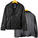 로맨틱크라운() TONE ON TONE LEATHER RIDER JACKET_BLACK