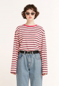 STRIPE COLOR PATCH LONG SLEEVE PINK(CY2ASFT551A)