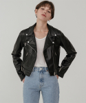 레이디 볼륨() Crop leather biker jacket