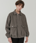 레이디 볼륨(LADY VOLUME) Overfit corduroy band blouson_charcoal