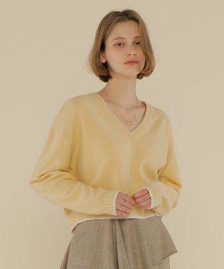 어몽(AMONG) A COLOR LINE KNIT TOP_YELLOW