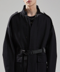 메종미네드(MAISON MINED) SOLID BUCKLE BLACK SHELL PARKA BLACK