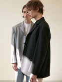 던스트(DUNST) UNISEX 2-WAY 3 BUTTON WOOL BLAZER BLACK UDJA0E102BK