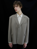던스트(DUNST) HIDDEN BUTTON SINGLE WOOL BLAZER GREIGE UDJA0E301G1