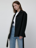 던스트(DUNST) WIDE COLLAR BELTED WOOL JACKET BLACK UDJA0E201BK