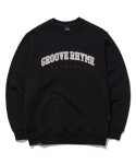 그루브라임(GROOVE RHYME) LOGO APPLIQUE SWEAT SHIRTS (BLACK) [GMT523I13BK]