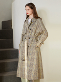 룩캐스트() YELLOW CHECK RAGLAN LONG TRENCH COAT