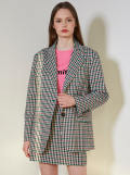 PINK GINGHAM CHECK OVERFIT SINGLE JACKET