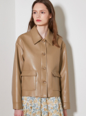 룩캐스트() BEIGE FAKE LEATHER SHORT JACKET