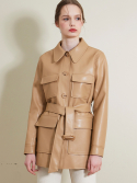 룩캐스트() BEIGE FAKE LEATHER HALF BELT JACKET