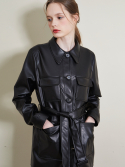 룩캐스트() BLACK FAKE LEATHER HALF BELT JACKET