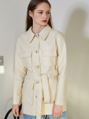 룩캐스트() IVORY FAKE LEATHER HALF BELT JACKET