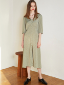 룩캐스트() MINT V NECK PRINTING LONG DRESS