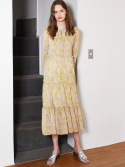 룩캐스트() LIGHT GREEN PRINTING SHIRRING LONG DRESS