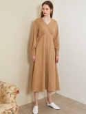 룩캐스트() BEIGE V NECK LONG DRESS