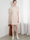 룩캐스트() IVORY TWEED MINI DRESS