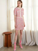 룩캐스트() PINK TWEED MINI DRESS