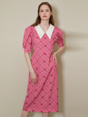 룩캐스트() PINK BIG COLLAR LONG DRESS