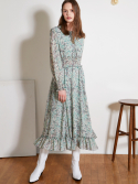 룩캐스트() GREEN PRINTING RUFFLE LONG DRESS
