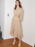 룩캐스트() YELLOW PRINTING RUFFLE LONG DRESS