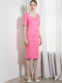 룩캐스트() PINK SQUARE NECK TWEED LONG DRESS