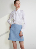 룩캐스트() BLUE TWEED MINI SKIRT
