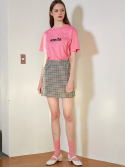 룩캐스트() PINK GINGHAM CHECK MINI SKIRT