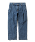 유니폼브릿지(UNIFORM BRIDGE) wide one tuck denim pants indigo washed