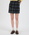 메인부스() Check Wrap Skirt(DEEP BLACK)