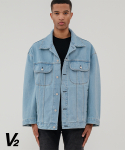 브이투() Overfit vintage denim trucker_light blue