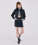 스컬프터(SCULPTOR) Faux Leather Mini Skirt [BLACK]