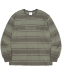 디스이즈네버댓(THISISNEVERTHAT) Script Striped L/SL Top Olive