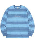 디스이즈네버댓(THISISNEVERTHAT) Script Striped L/SL Top Sky Blue