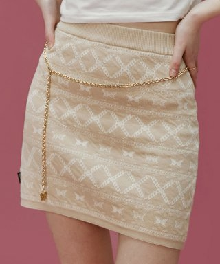 네스티팬시클럽(NASTY FANCY CLUB) [NF] FANCY BUTTERFLY KINT SKIRT (BEIGE)(20SS-F705)