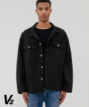 브이투() Overfit unique trucker jacket_black