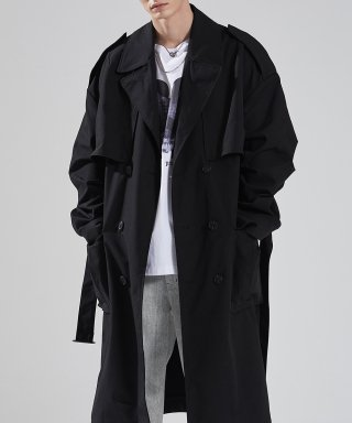 메종미네드(MAISON MINED) BLACK OVER TRENCH COAT