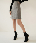 리올그(REORG) FOR TWEED MINI SKIRT BLACK